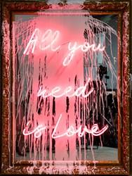 All You Need Is Love by Mr. Brainwash - Neon Lightbulb and Acrylic on Framed Mirror sized 34x45 inches. Available from Whitewall Galleries